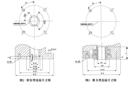 多回转推力型及转矩型连接尺寸图