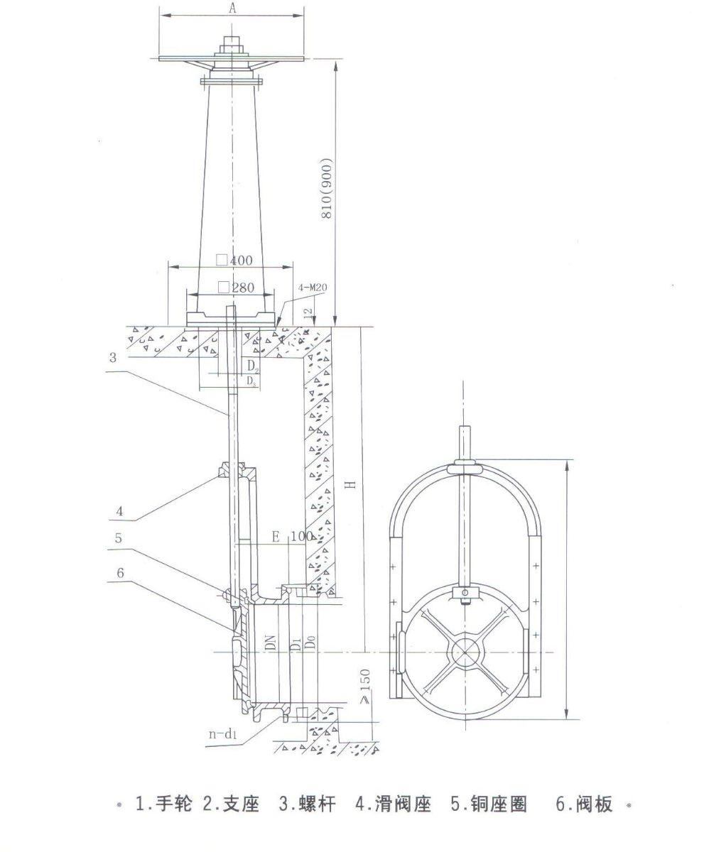 铸铁镶铜滑阀结构图