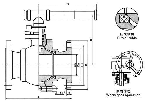 天然气球阀结构图